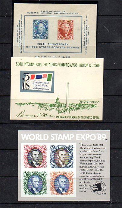 US Three Souvenir Sheets 948,1311,2433 CV $14.67