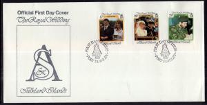 Falkland Islands 454-456 Royal Wedding U/A FDC