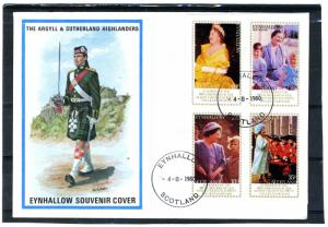 Eynhallow Scotland 4.08.1980 QUEEN MOTHER'S 80th.Birthday Imperforated in FDC