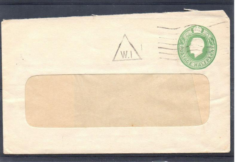 GB = Postal Stationary, G5 1/2d Green Window Cover Used `W1`Triangle cancel (a)