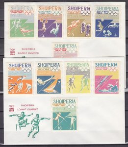 Albania, Scott cat. 754-763. Tokyo Olympics issue. First day cover. ^
