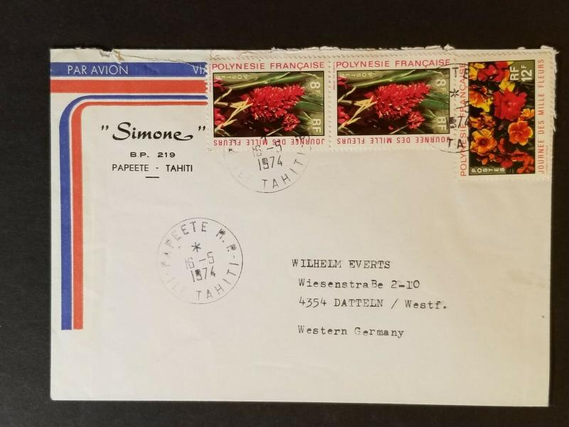 1974 Papeete Tahiti to Datteln Germany Simone Advertising Air Mail Cover