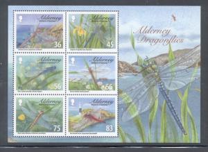 Alderney Sc 367a 2010 dragonflies stamp sheet mint NH