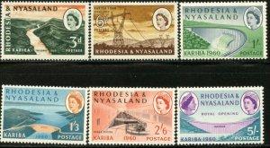 RHODESIA & NYASALAND Sc#172-177 1960 Kariba Dam Complete Set OG Mint LH