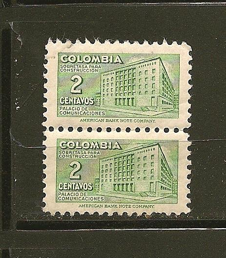 Colombia RA24 Postal Tax Pair MNH