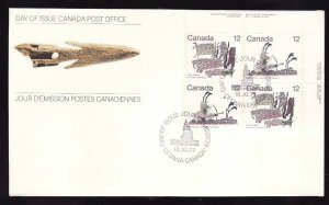 Canada-Sc#751a-stamps on FDC-UR plate block-Inuit Hunting-1977-