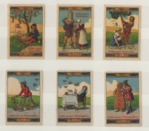 Germany Vignette of 6 Advertising Stamps Aecht Frank- People & Animals - NG