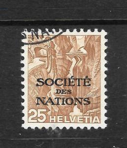 LEAGUE OF NATIONS 1935  25c  ORANGE/BROWN    FU   SG LN43