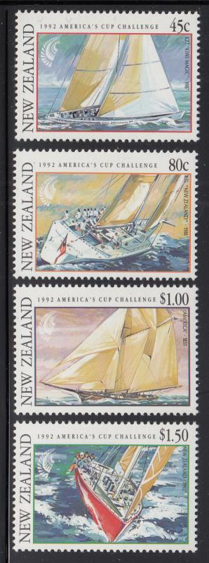 New Zealand 1992 MNH Scott #1085-#1088 America's Cup Sailing Race Sailboats