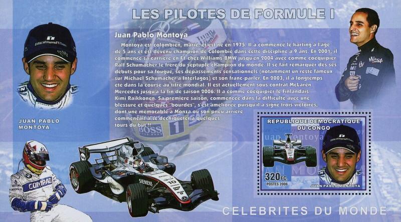 Congo MNH S/S Juan Pablo Montoya Formula 1 Race Car Driver