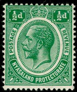 NYASALAND PROTECTORATE SG83, ½d green, M MINT. WMK MULT CA