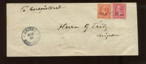 Guam Scott 2 & 11 Overprint Used Stamps on Nice Cover to Saipan Mariana Islands