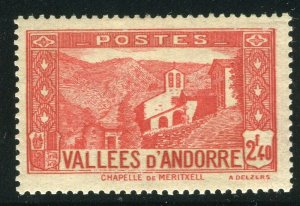FRENCH ANDORRA; 1932 early Pictorial issue fine Mint hinged 2.40Fr. value