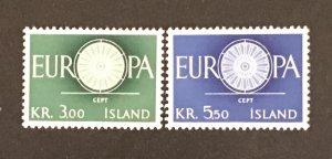 Iceland 1960 #327-28 MNH, CV $1.30