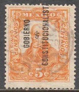 MEXICO 427, 5¢ REVOLUT OVPT GOBIERNO $ CONSTITUC. Used. F-VF. (295)
