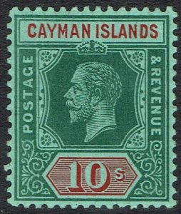 CAYMAN ISLANDS 1912 KGV 10/- DEEP GREEN AND RED/GREEN