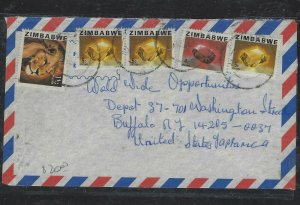 ZIMBABWE COVER (P2304B) LION 11C+ GEMSTONES 5CX3+4C A/M COVER TO USA