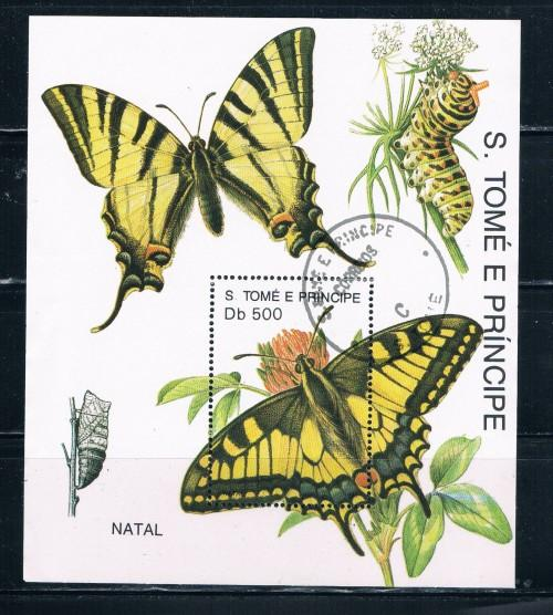 St Thomas and Prince Islands 1041 Souvenir Sheet Used Butterflies (S0150)