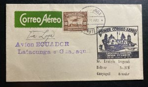 1932 Latacunga Ecuador First Flight Airmail Cover FFC To Guayaquil