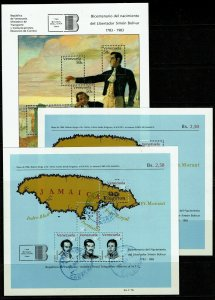 Venezuela 3 Souvenir Sheets, Never Hinged & cancelled, see notes - M478