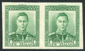 New Zealand KGVI 1d Green Imperf Pair of Proofs on wmk paper U/M