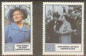 S.GEORGIA&S.SANDWICH SG195/6 1990 QUEEN MOTHER MNH