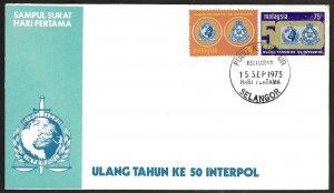 Malaysia SC#106-107 50th anniversary of INTERPOL (1973) FDC