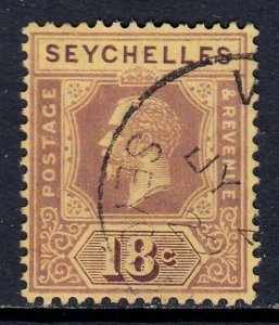 SEYCHELLES — SCOTT 80a (SG 88c)— 1922 KGV 18c MULT CR CA DIE II — USED — SCV $21