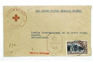 CEYLON Colombo RED CROSS SWITZERLAND Cover {samwells-covers} 1942 WW2 CW49
