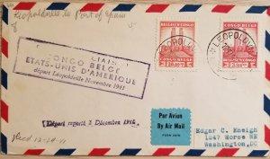 O) 1941 BELGIAN CONGO, KING ALBERT MEMORIAL LEOPOLDVILLE, TO PORT OF SPAIN, F.