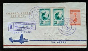 1963 Dominican Republic Newark NJ Back Cancel Registered Olympics Airmail Cover