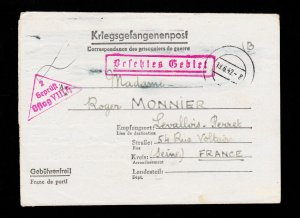 GERMANY FRENCH OFFICER POW CAMP REDACTED LETTERSHEET OFLAG 8H TO FRANCE 1942
