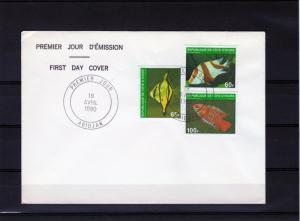 Ivory Coast 1980 Sc# 556/557  Fishes  Set (3) F.D.C. VERY RARE !!!