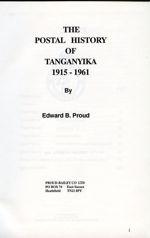 The Postal History Of Tanganica 1915-1961 por Edward B. Proud