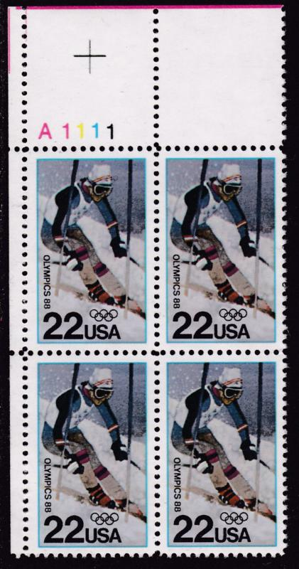 United States 1988 Winter Olympics SKIING  Plate Number Block  VF/NH