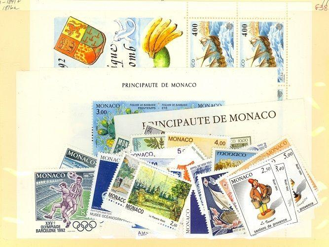 Monaco Scott 1801-1841,1816a Mint NH (1992 Year Set) - Catalog Value $142.60
