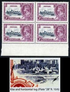 Grenada SG148l 1935 Silver Jubilee 1/- with Kite and Horizontal Line Block 4 U/M