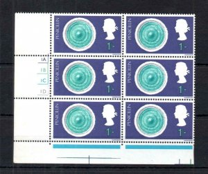 1/- DISCOVERY UNMOUNTED MINT CYLINDER BLOCK WITH PHOSPHOR OMITTED