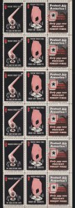 US Vintage Only You Can Prevent Forest Fires Cinderella Stamps Partial Sheet