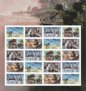 US 5475-5479 5479a Enjoy the Great Outdoors forever sheet (20 stamps) MNH 2020