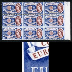 1/6 Europa SG622c Variety Blurred E R13/5 U/M Block 9