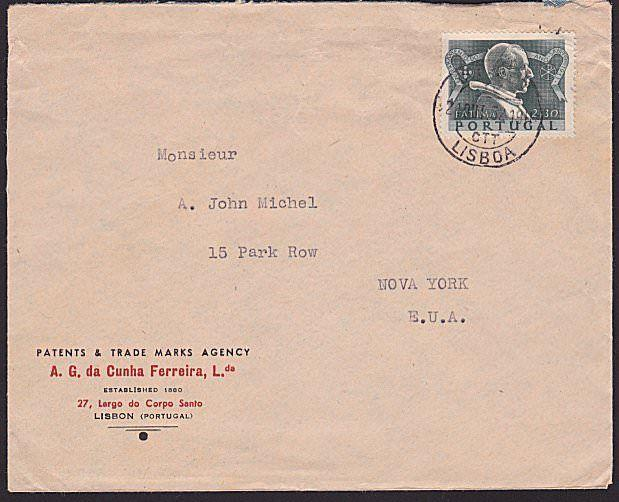 PORTUGAL 1952 cover Lisbon to USA - $2.30 Fatima single franking............6708