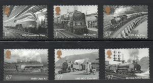 Great Britain Sc 2827-32 2010 Steam Locomotives stamp set mint NH