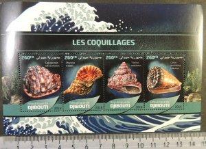 Djibouti 2016 shells marine life m/sheet mnh