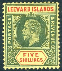 LEEWARD ISLANDS-1913 5/- Green & Red/Yellow (White back) lightly mounted Sg 57a