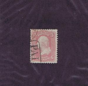 SC# 64 USED 3 CENT WASHINGTON, PARTIAL ~ PAID ~ CANCEL, PINK, 1861, TAKE A LOOK