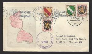 GERMANY FRENCH ZONE 1947 BRITISH CENSORED PIRMASENS MAP Cachet Cover to USA