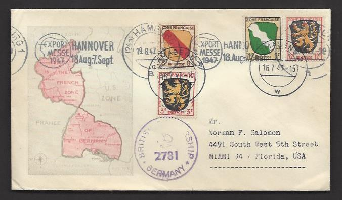 Germany French Zone 1947 British Censored Pirmasens Map Cachet Cover