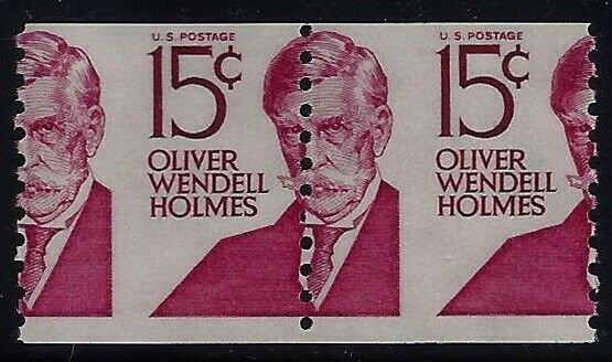 1305E - 15c Misperf Error / EFO Pair Oliver Wendell Holmes Mint NH (Stk7)