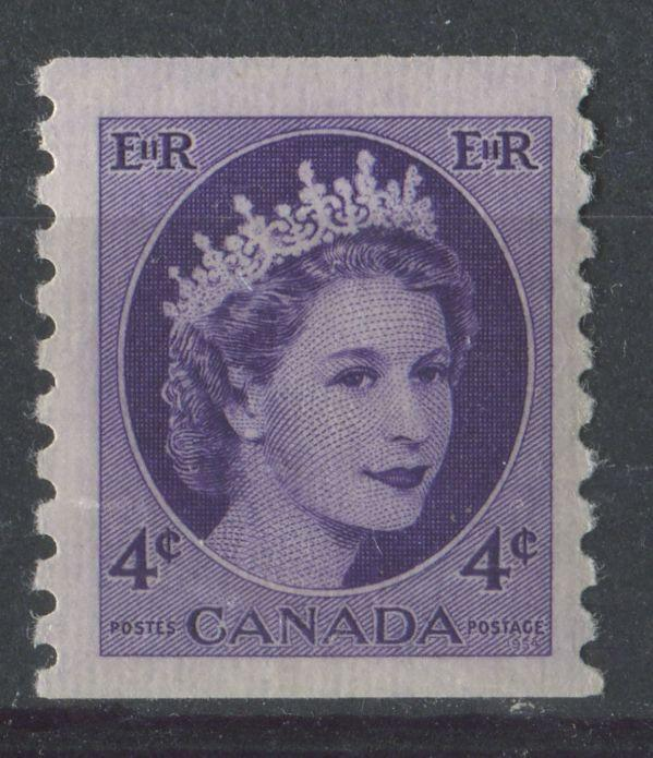 Canada #347 4c Deep Purple Violet Wilding Issue Coil DF GW Ribbed  - VF-80 NH